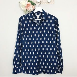 J. Crew owl novelty print button up top size XS
